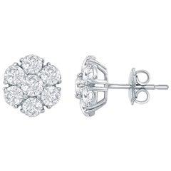 Cluster Diamond Earrings 3 Carat