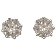 Cluster Diamond Earrings Total Weight .73 Carat in 18 Karat Gold