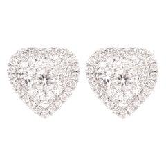 Cluster Diamond Heart Earrings 18 Karat White Gold Heart Studs
