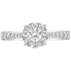Cluster Diamond Pave Engagement Ring