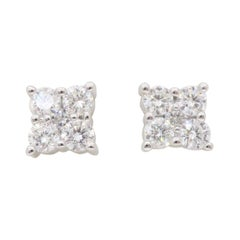 Cluster Diamond Stud Earrings
