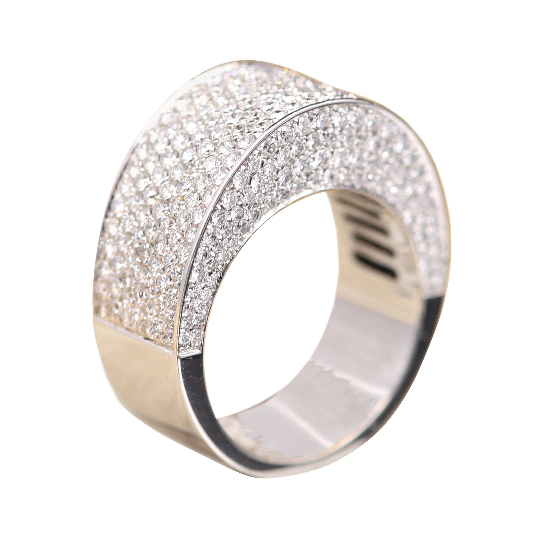 Cluster Dome Diamond Ring 18 Karat White Gold Cluster Diamond Ring
