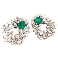 Cluster Emerald and Diamond Earclips in 18 Karat White Gold