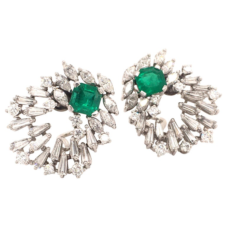 Cluster Emerald and Diamond Earclips in 18 Karat White Gold For Sale