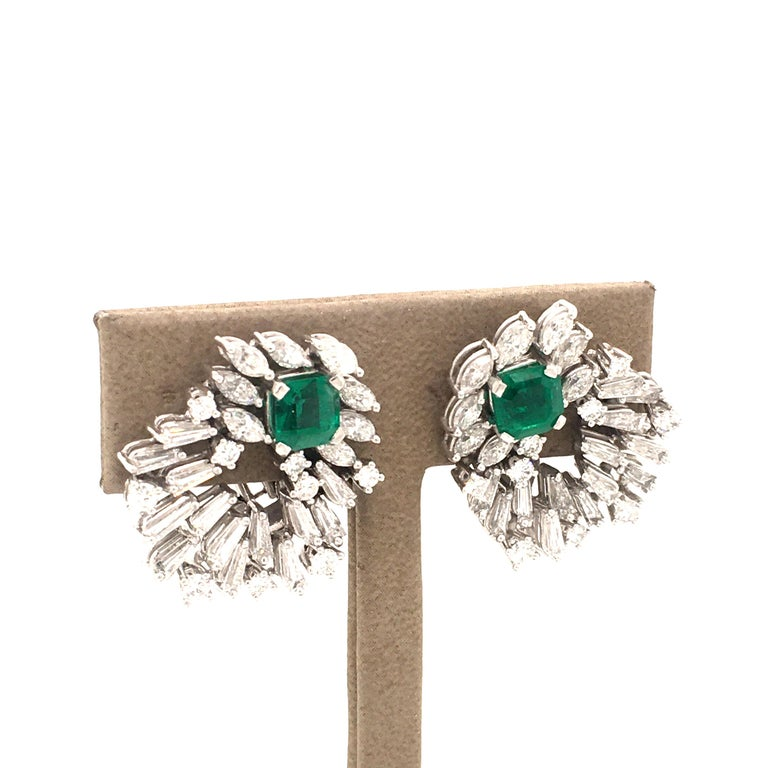 Emerald Cut Cluster Emerald and Diamond Earclips in 18 Karat White Gold For Sale