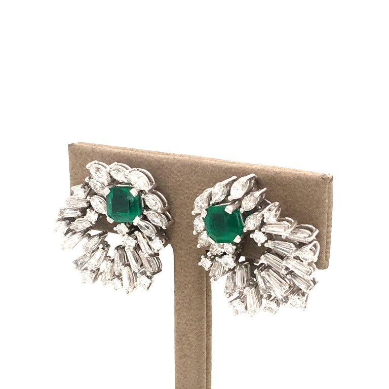 Men's Cluster Emerald and Diamond Earclips in 18 Karat White Gold For Sale