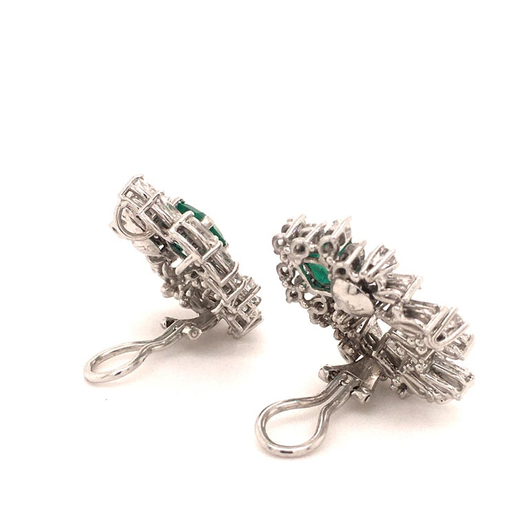 Cluster Emerald and Diamond Earclips in 18 Karat White Gold For Sale 2
