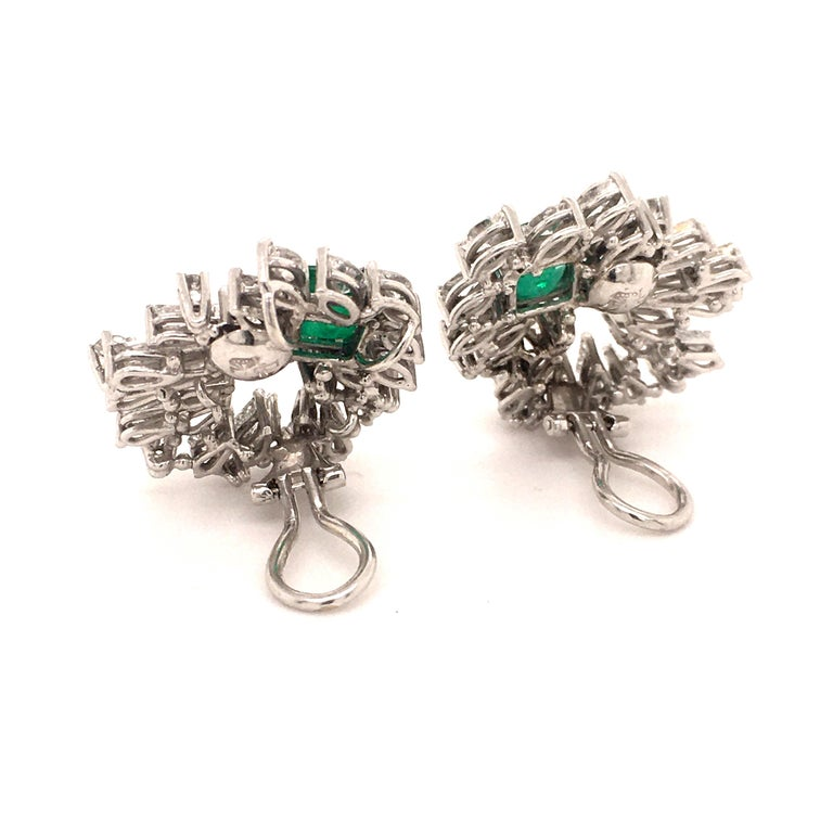 Cluster Emerald and Diamond Earclips in 18 Karat White Gold For Sale 3