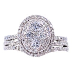 Cluster Halo Diamond Engagement Ring Wedding Set 1.28 Carat