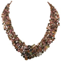 Cluster Necklace of Faceted Tourmaline