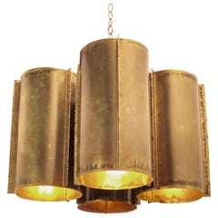 Cluster of Four Cylinder Brutalist Tube Chandelier or Pendant