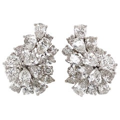 Pear Cut Cluster Diamonds 10.98 Carat Platinum Earrings