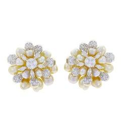 Cluster Pearl and Diamond Earrings, 18 Karat Yellow Gold