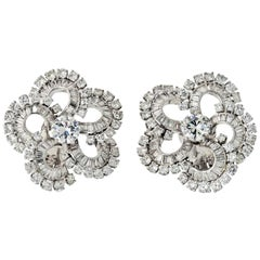 Cluster Platinum 12 Carat Diamond Flower Earrings