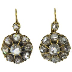 Cluster-Rose Cut Diamant-Ohrringe Gold