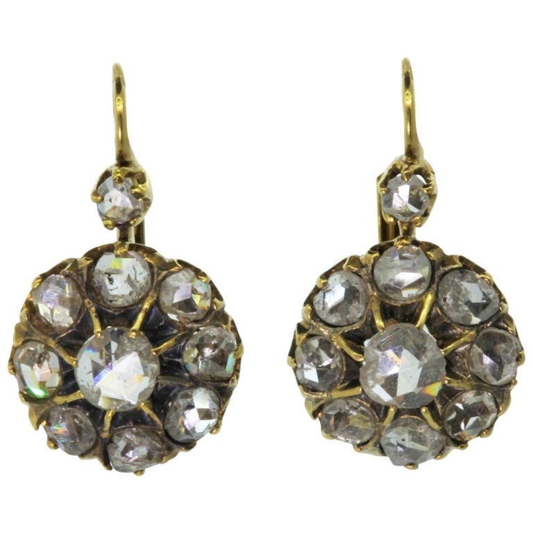 Cluster Rose Cut Diamond Gold Earrings 1