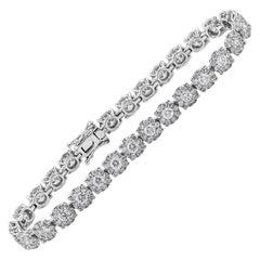Cluster Round Diamond Illusion Tennis Bracelet