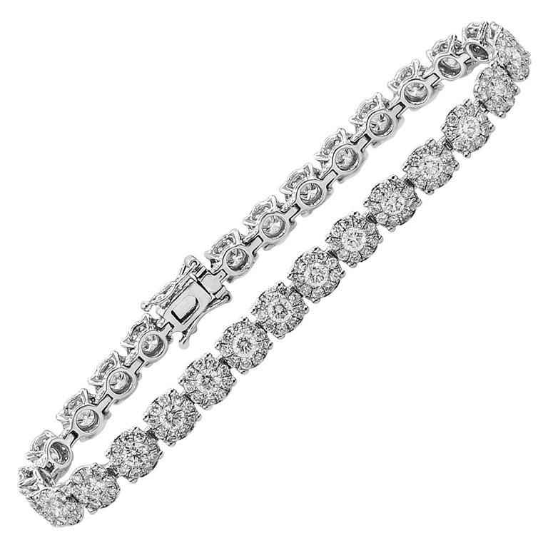 Roman Malakov Cluster Round Diamond Illusion Tennis Bracelet For Sale