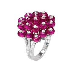 Cluster Ruby Bead Ring in Platinum