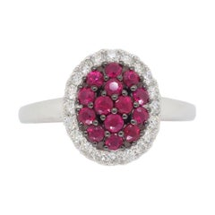 Cluster Ruby Ring Surrounded by a Halo of Diamonds