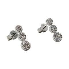 Cluster Three Drop Flower Earrings 0.99 Carat Diamond 18 Karat White Gold
