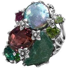 Stephen Dweck Clustered Assorted Gemstone Ring