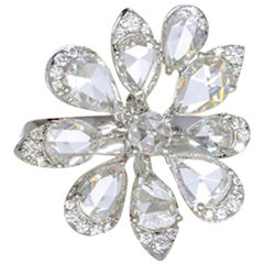 Clustered Petal Diamond Ring