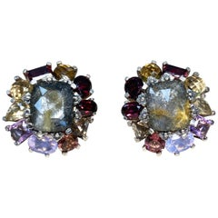 Stephen Dweck Clustered Prong Set Assorted Gemstone Clip Earrings