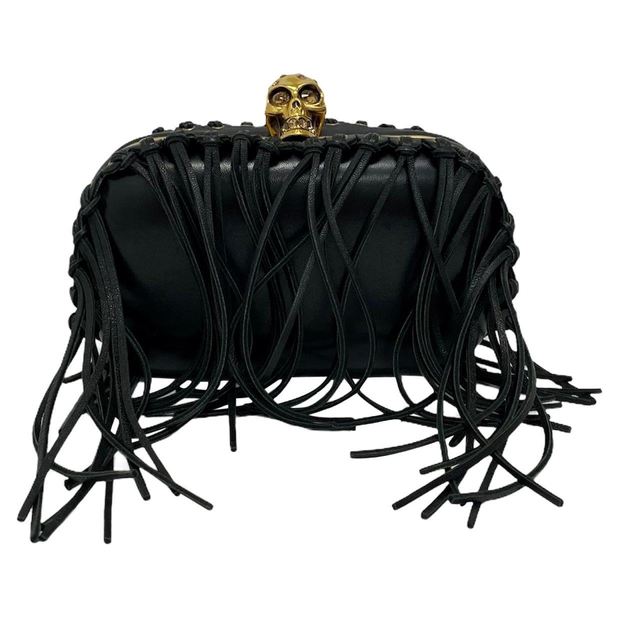 Clutch Alexander McQueen Bag in Black Leather with Fringes