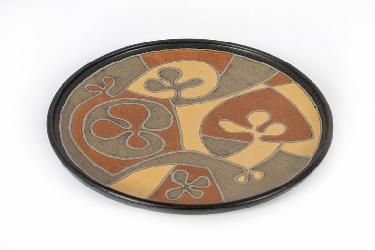 Mid-Century Modern Clyde Burt Ceramic Charger For Sale