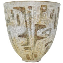 Clyde Burt Ceramic Vase or Vessel with Sgraffito