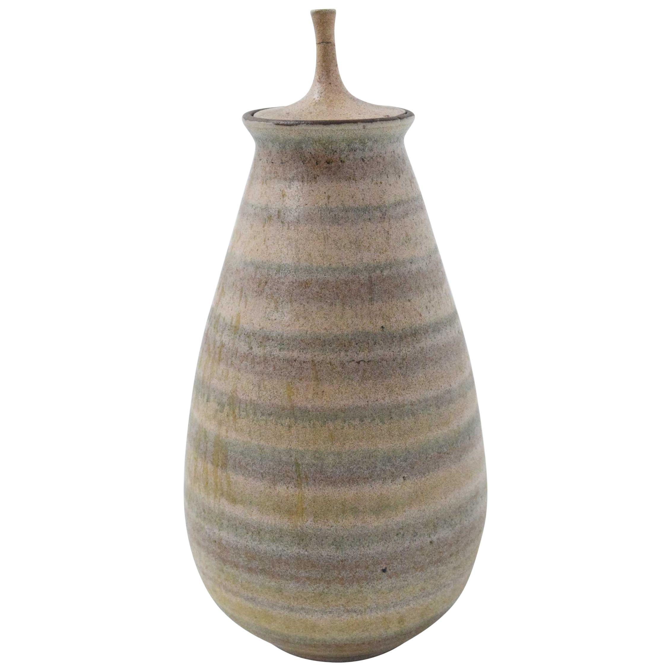 Clyde Burt Ceramic Vase with Lid
