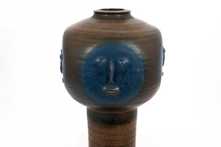 Glazed Clyde Burt Face Vase For Sale