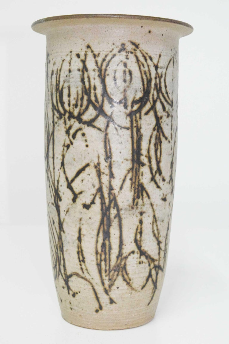 North American Clyde Burt Tall Ceramic Vase with Abstract Design For Sale