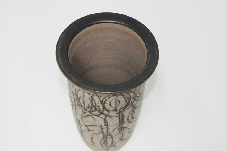 Clyde Burt Tall Ceramic Vase with Abstract Design In Good Condition For Sale In Dallas, TX