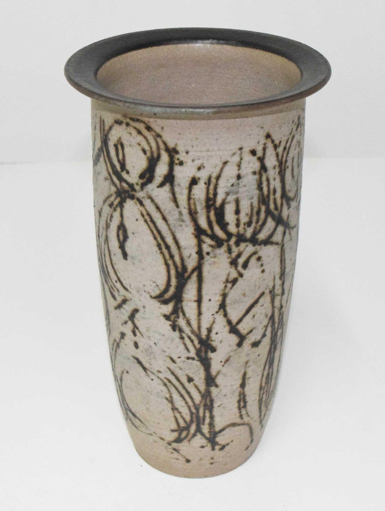 Clyde Burt Tall Ceramic Vase with Abstract Design For Sale 1