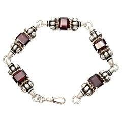 Clyde Duneier CID Sterling Silver 14K Garnet Renaissance Bracelet