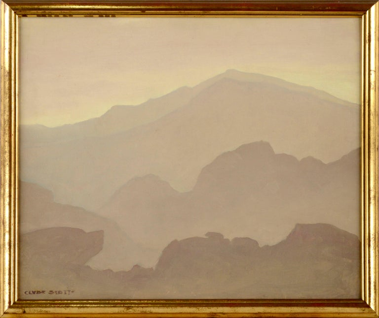 "Clyde Eugene Scott Landscape Painting - ""Mountain Mist"" - Mid Century Modern Landscape"