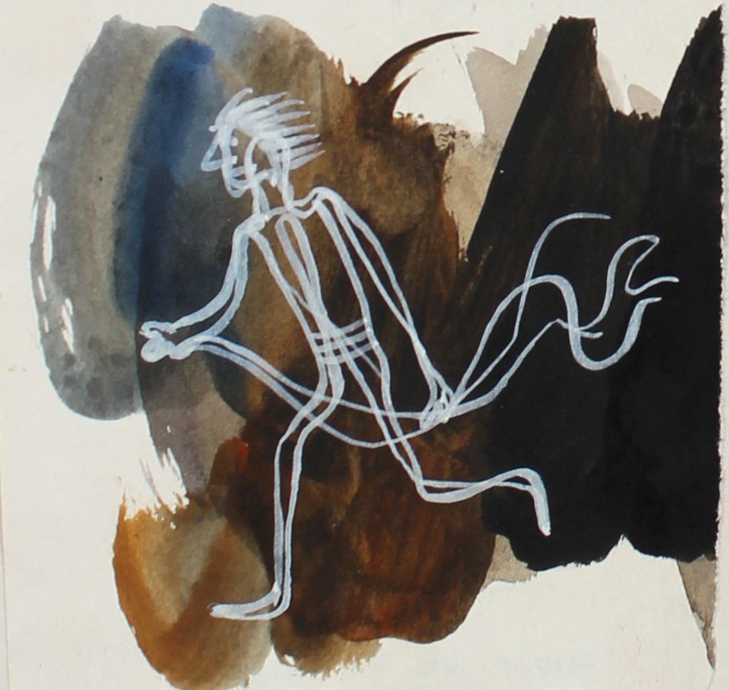 Petit Dynamic Running Figure in White 1946 Gouache