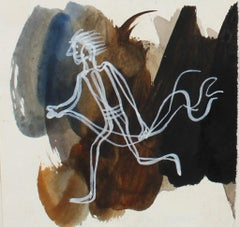 Petit Dynamic Running Figure in White 1946 Gouache