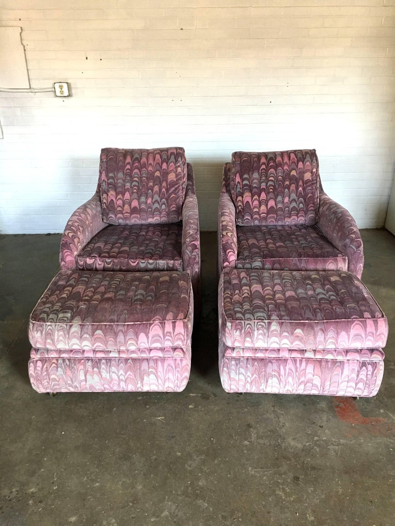 Gorgeous and incredible pair of lounge chairs and ottomans with the most beautiful Larsen Fabric ever. Excellent condition with no signs of wear. Even so, I had these professionally cleaned and then wrapped to keep them clean. Ottomans are on