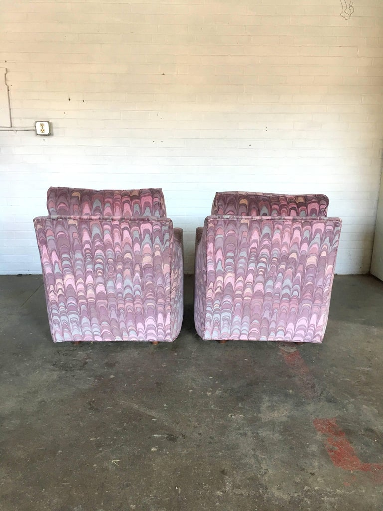 Clyde Pearson Chairs and Ottomans with Jack Lenor Larsen Fabric In Good Condition For Sale In Southampton, NJ