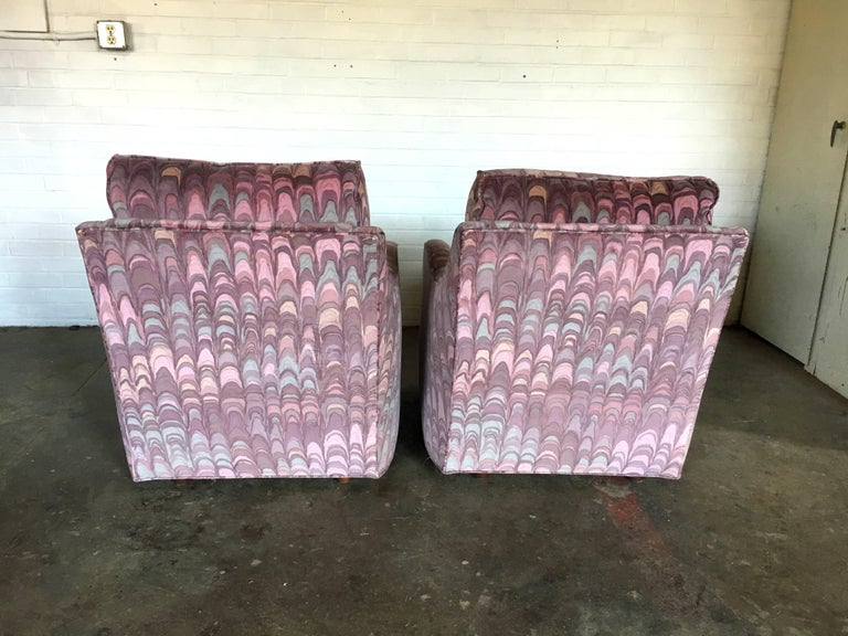 Late 20th Century Clyde Pearson Chairs and Ottomans with Jack Lenor Larsen Fabric For Sale