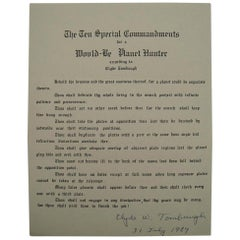 Clyde Tombaugh Autograph on 10 Special Commandments for a Planet Hunter, 1984