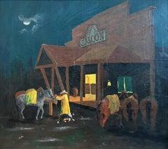"""Rainy Night At The Oxbow""  Western Folk Art Saloon Scene Cowboy"