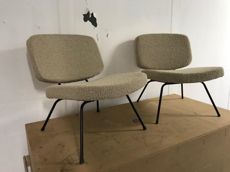 CM190 slipper chairs by Pierre Paulin, France, Thonet editions. Recently reupholstered with a beige fabric by Bisson Bruneel.