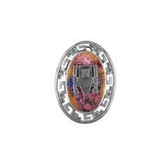 CMC Peruvian Inca Motif Sterling Silver & Enamel Pendant/Pin