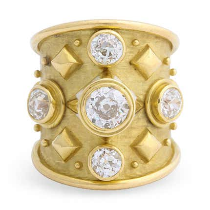 Elizabeth Gage Gold and Diamond Ring, 20th Century
