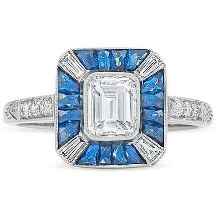 Diamond and Sapphire Ring, 20th Century