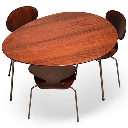 Arne Jacobsen Rosewood Egg Table and Ant Chairs, 1950s